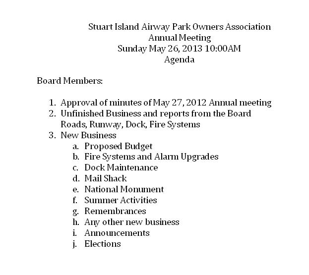 community meeting agenda