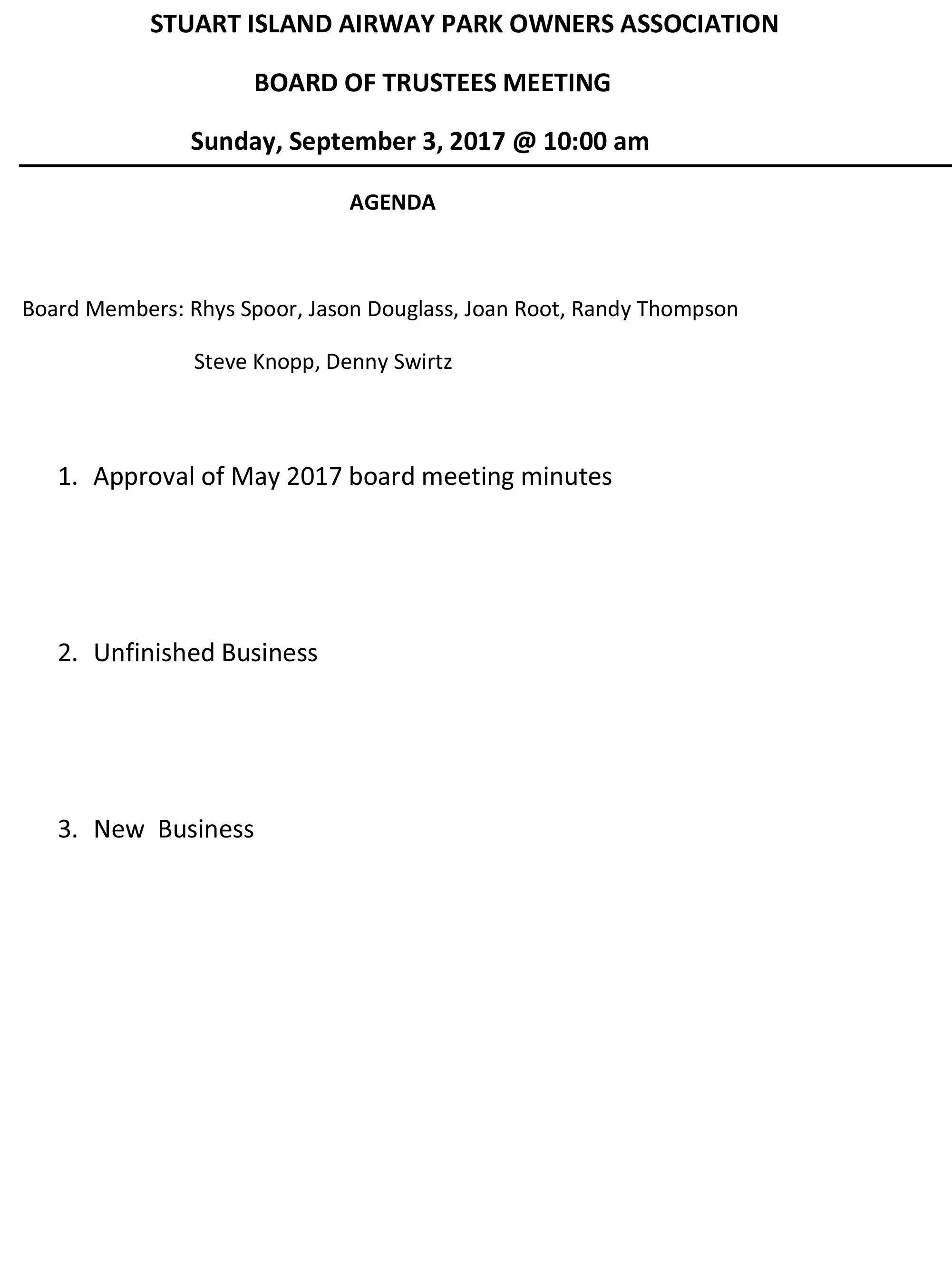 September Board Meeting Agenda – Board Meeting Agenda